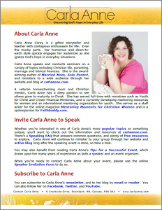 Thumbnail of Carla Anne Coroy's Speaking One-Sheet