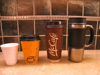 Insulated Mugs and Lukewarm Christians - by Carla Anne Coroy - photo of Styrofoam, corrugated paper, and McDonald's paper cups and a stainless steel insulated travel mug