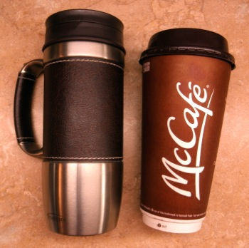 Insulated Mugs and Lukewarm Christians - by Carla Anne Coroy - photo of a Trudeau insulated travel mug next to a McDonald's extra large coffee cup