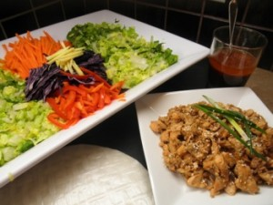 Vietnamese Salad Rolls with Ginger Salmon - Carla Anne Coroy - Ingredients laid out for Make-Your-Own Vietnamese Salad Rolls