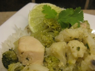 Thai Chicken Curry - Carla Anne Coroy - chicken, broccoli, cauliflower and mushrooms in mild green curry