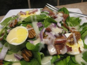 Spinach Salad with Lemon Bacon Dressing - Carla Anne Coroy - Spinach Salad with Lemon Bacon Dressing close up