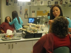 Look what I've been up to - Carla Anne Coroy - Getting my makeup done for the 100 Huntley Street show